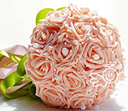 18pcs Artificial Holding Roses Wedding Bouquet High Gorgeous Charm Emulation Bridal Bride Bouquet Flowers with Green White Ribbon