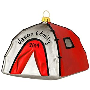 Personalized Red Pop Up Tent Glass Ornament