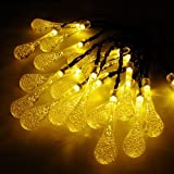 GRDE® 20 LED Crystal Water Drop String Lights, Waterproof Solar Powered Starry String Lights, Ambiance Lights for Outdoors, Gardens, Patio, Trees, Christmas Party, Fairy Star Lights (Warm white)