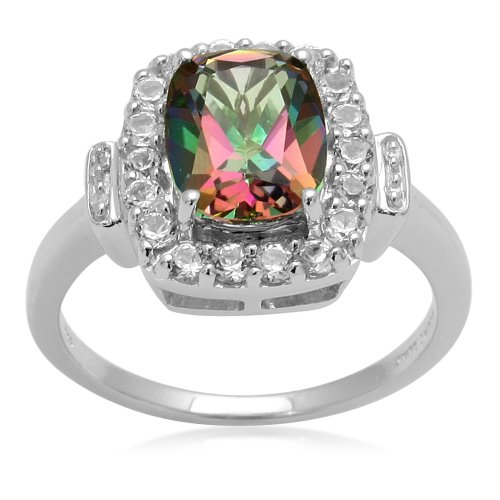 Sterling Silver and Cushion Mystic Topaz Ring, Size 7