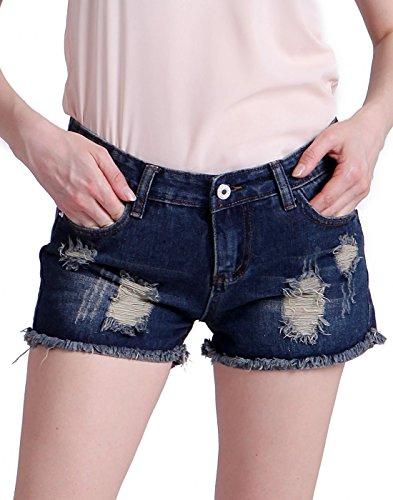 HDE Women's Cut Off Jean Shorts Destructed Denim (Small) Wash Denim Cut Off Shorts