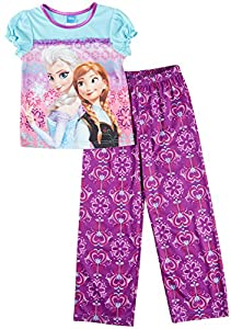 Disney Frozen Big Girls Anna & Elsa Pajama Set 8 Purple