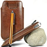 Brown Premium PU Leather Pull tab Protective Grip Soft Slip Slide in Pouch Skin Case Cover With High Sensitivity Capacitive Aluminium Touch Stylus Pen For SAMSUNG I8700 OMNIA 7 (L) Mobile Cellular Phone