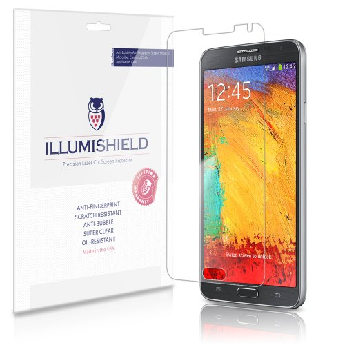Illumishield - Samsung Galaxy Note Iii Sm-N9000 Crystal Clear Screen Protectors With Anti-Bubble/Anti-Fingerprint - 3-Pack + Lifetime Replacements