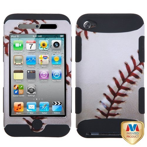 Bastex Heavy Duty Hybrid Case For Apple Ipod Touch 4 - Baseball Sports Collection/Black Tuff Hybrid Phone Protector Cover front-462070