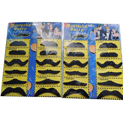 Self Adhesive Set 12 Fake Mustaches Costume Party Disguise (3 pack)
