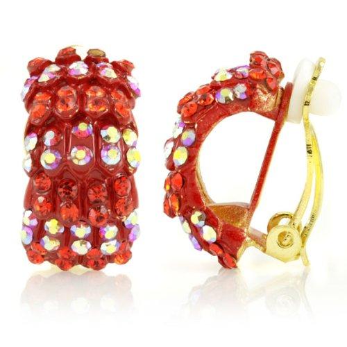 Gertrude's Clip On Hoop Earrings - Red