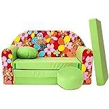 Kindersofa Bettfunktion 3in1 Sofa Pikolino Kindersessel Ausziehbett Bett Z19+ grün Blumen