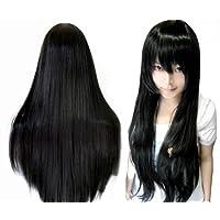 【ノーブランド品】 これで完璧!【3点セット】黒髪 ロング ウィッグ [ 80cm / ストレート ] c149