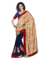 Indian Saree Sari Ethnic Designer Embroidered Navy Blue By Triveni - Buy 1 Get 1 Free Combo