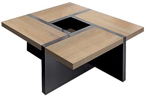 Regalwelt 2002-KF-SHG-SOE Couchtisch Quadro Uno, 80 x 80 x 35 cm, schwarz / sonoma eiche