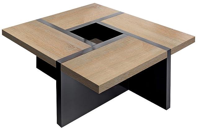 Regalwelt Quadro-Uno–Tavolino da salotto, 80x 80x 47cm, base in Nero e pannello disponibile in vari colori Roble sonoma