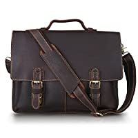 Kattee Twin Buckle Genuine Leather Messenger Bag by Kattee