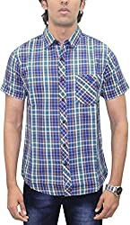 AA' Southbay Men's Blue, Mustard & Olive Checks 100% Premium Cotton Half Sleeve Casual Shirt