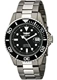 Invicta Pro Diver Men's Automatic Watch with Black Dial Analogue Display and Silver Titanium Bracelet 0420