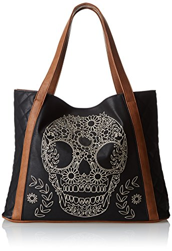 Loungefly Quilted Skull Embroidery Tote Shoulder Bag