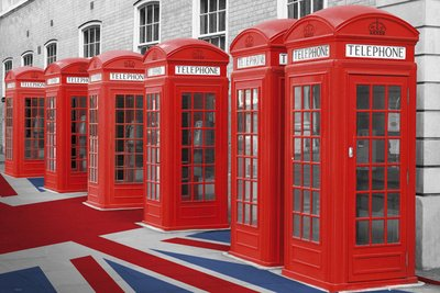 London Phone Boxes Art Print Poster - 24x36