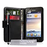 Yousave Accessories Custodia per Huawei Ascend Y330 con Stilo Penna, Nero