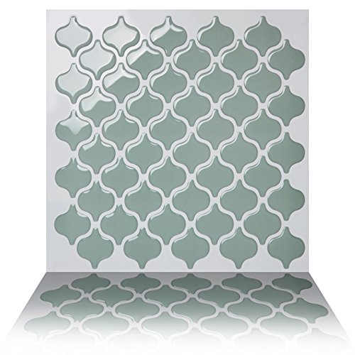 Tic Tac Tiles® - High Quality Anti-mold Peel and Stick Wall Tile in Damask Jade (10)