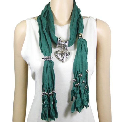 Metal Heart Pendant Jewelry Scarf Long Necklace Green