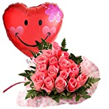 翌日配達お花屋さん 飛び出すバルーン+ハートアレンジとのセット。当店1番人気商品!【バルーンフラワー】ハート(バラアレンジ&バルーン・ハートラブ) 誕生日・記念日・お祝い・結婚祝い・お見舞い・歓送迎会・結婚祝いお礼の花の配達便!