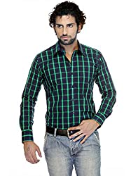 Zeal Checkered 100% Cotton Dark Blue-Green Casual Shirt for Men
