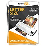 zoomyo Laminating Sheets   Letter Size 8.9 x 11.4 inches   5 mil   Gloss   100 pouches per pack (Color: Crystal Clear)