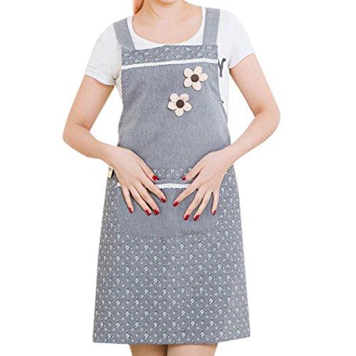 TININNA Grembiule Cotone Lino alta qualità Grembiule da cucina per donna, Grembiule da donna, unisex Grembiule Fiore Grembiule + Omaggio(nero)