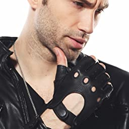 ELMA Men\'s Deerskin Leather Fingerless Half Finger Driving Unlined Gloves (L, Black)