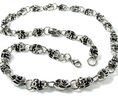 Stainless Steel Skull Link Daisy Chain Necklace 9mm by Kaon