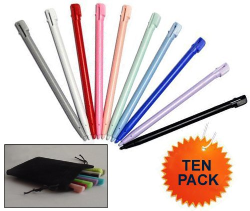 10 PACK Stylus - FREE POUCH INCLUDED - Nintendo DS Lite (DSL) Stylus Pens. Replacement stylus pen pack for Nintendo DS Lite games system. Nintendo DSL accessories / Fits in Nintendo DSL Case