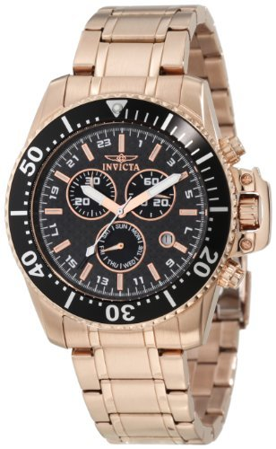 Invicta Men's 11289 Pro Diver Chronograph Black Carbon Fiber Dial 18k Rose Gold Ion-Plated Stainless Steel Watch (Carbon Fiber Dial Watch compare prices)