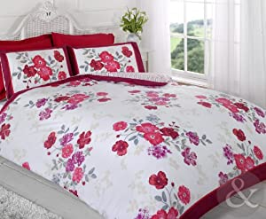 FLORAL STRIPED DUVET COVER SET Luxury Modern Bedding Bed Sets Red ( claret wine pink fuchsia cream King Size Quilt Cover ( kingsize girls