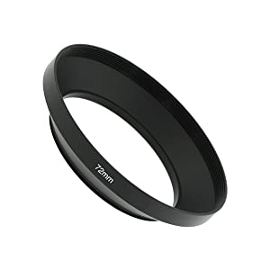 SIOTI Camera Wide Angle Metal Lens Hood with Cleaning Cloth and Lens Cap Compatible with Leica/Fuji/Nikon/Canon/Samsung Standard Thread Lens(72mm) (Color: Wide Angle, Tamaño: 72mm)