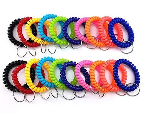 yueton 20pcs Colorful Flexible Spiral Coil Wristband with Split Ring (Coil Keychain Orange compare prices)