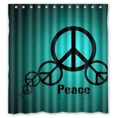 Funny World Peace Sign Bathroom Shower Curtain, Shower Rings Included  Polyester Waterproof 66