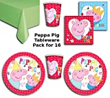 Peppa Pig Party Supplies Pack for 16 - Includes 16 cups, 16 plates, 16 Napkins and Lime Green Tablecover