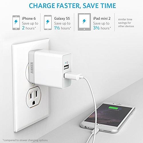 Anker® 20W 2ポート USB急速充電器 iPhone6/iPhone5C/5S/5/4S/4/iPod/iPad/Xperia/GALAXY/ウォークマン等対応【PowerIQ搭載】 (ホワイト)