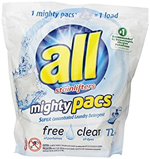 All Mighty Pacs Laundry Detergent, Free Clear, 72 Count