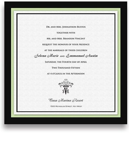 160 Square Wedding Invitations - Monogram Mint Olive Crown