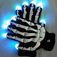 ESUMIC RGB SKULL Raver Glove LED 7Colors Light Show Gloves HALLOWEEN Gloves by ESUMIC