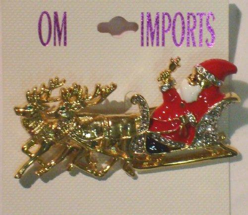 Sparkling Crystals Rhinestones Jades and Simulated Dark Pearls on Genuine Gold Plated Gita Santa Christmas Brooch Pin for Women and Teens