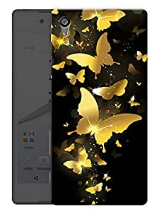 """Humor Gang Golden Butterflies Printed Designer Mobile Back Cover For """"Sony Xperia Z5"""" (3D, Matte, Premium Quality Snap On Case)"""