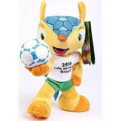 Kayford 28cm 11inch High Polyester Fuleco Plush Toy Hold Ball Pose 2014 Fifa World Cup Brazil Soccer Mascot Souvenir