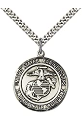 "Sterling Silver MARINES/ST. CHRISTOPHER Pendant with 24"" Stainless Steel Heavy Curb Chain. Patron Saint of Travelers/Motorists"