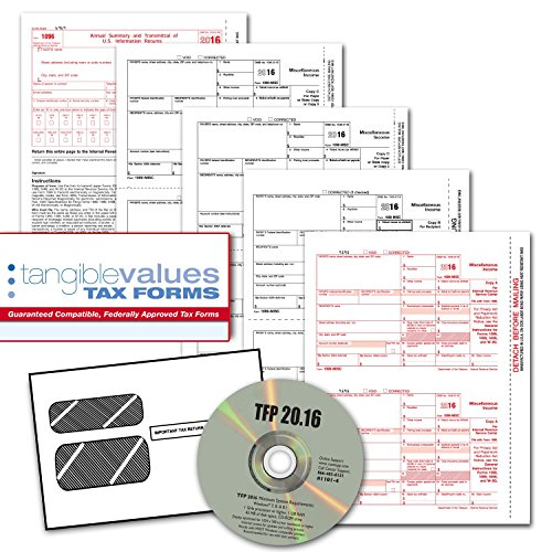 Tangible Values 1099 Misc Laser Forms (4-Part) Kit with Envelopes Plus TFP Software for 25 Individuals/Suppliers (2016) (1099 Forms And Software compare prices)
