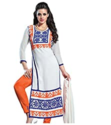 Shree Sanskruti White Colour Stright Suit with Unstitched Salwar, Suit and Dupatta for Women