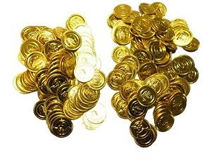 小金持ちは金持ちだ! おもちゃのお金 200枚コインセット 偽コイン ゲーム用小道具 海賊ゲーム プラスチックのチップ
