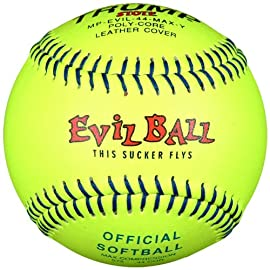 Trump® MP-EVIL-44-MAX-Y Evil Sports 12 Inch Yellow Leather Cover Official Softball (525 Compression) (Sold in Dozens)