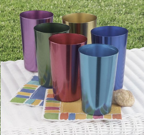 Set of Six Anodized Aluminum Tumblers (Aluminum Cups compare prices)